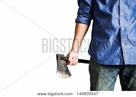 A guy holding old rusty axe, close up front view, isolated on white background