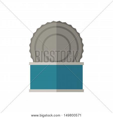 Tincan vector illustration. Opened tin icon in flat design.
