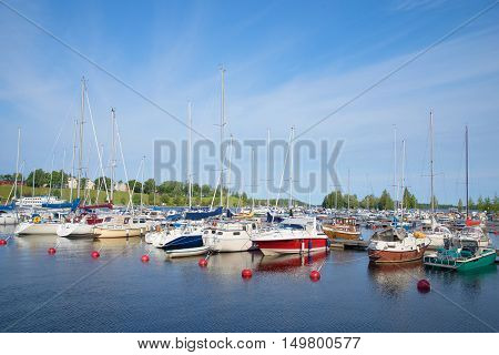 LAPPEENRANTA, FINLAND - AUGUST 21, 2016: Early August morning in the harbor of lake Saimaa. Tourist landmark of the city Lappeenranta.