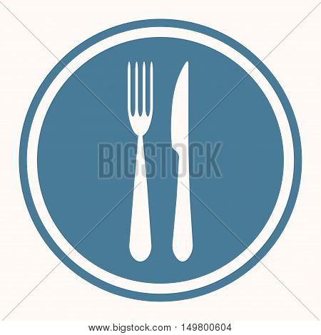 Fork and knife set in blue circle and on white background