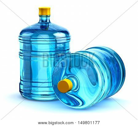 3D render illustration of the group of two blue 19 liter or 5 gallon plastic water bottles container isolated on white background