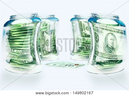 Glass flasks with money and three bills with coins - wealth and poverty concept. 3D illustration