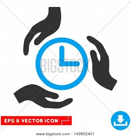 Blue And Gray Time Care EPS vector pictograph. Illustration style is flat iconic bicolor symbol on a white background.