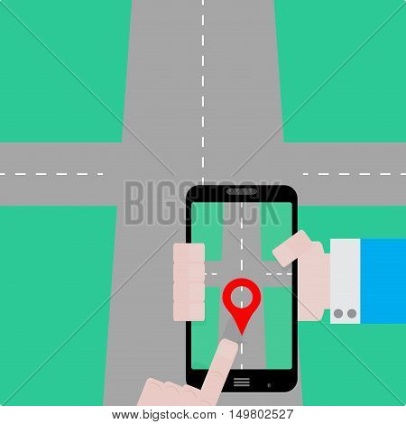 GPS navigator concept. Create a route. Gps map navigation on smarphone gps tracking with satellite. Vector illustration