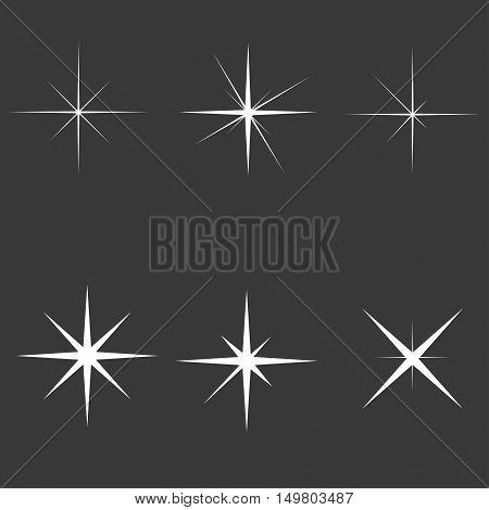 Sparkle lights stars set. Glowing light effect star bursts collection. Vector illustration