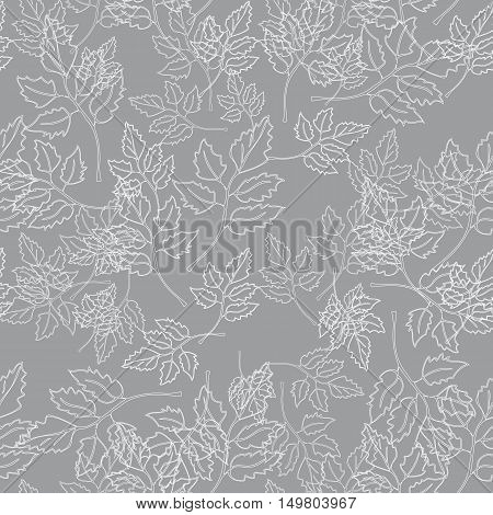 Seamless ornament consisting of contours of leaves arranged in a chaotic manner on a grey background.