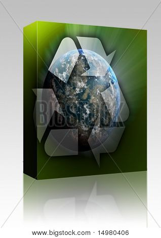 Software package box Recycling eco symbol illustration of three arrows over planet earth
