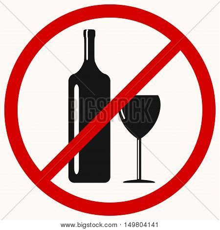No drinking sign, no alcohol, prohibited activities. Vector illustration - you can simply change color and size