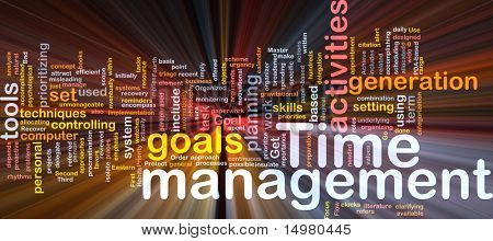 Word cloud concept illustration of time management glowing light effect