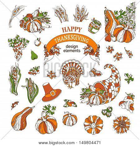 Vector Set Of Thanksgiving Design Elements.