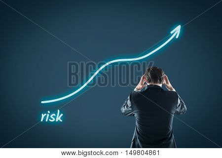 Growing risk concept. Investor or business angel is frustrated by increasing investment risk.