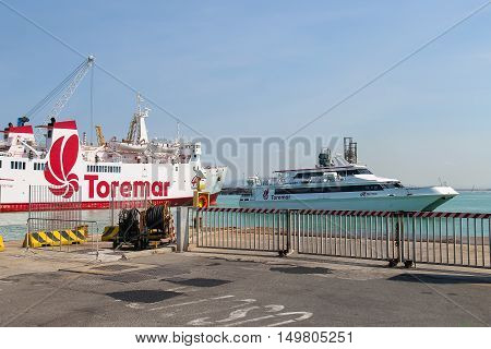 Piombino Italy - June 30 2015: Ferry boats Marmorica and Acapulco Jet in harbor of Piombino