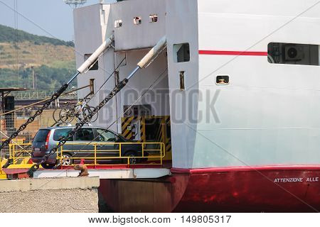 Piombino Italy - June 30 2015: Ferry boat Marmorica uploading a car. Ferry with capacity 470 passengers and 106 vehicles