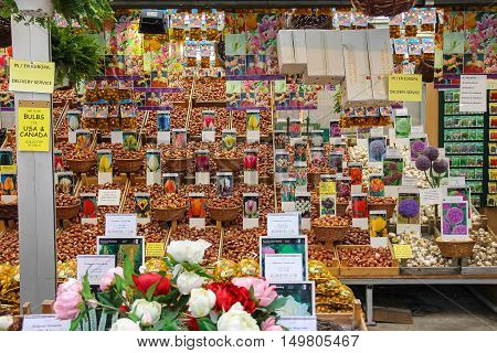 Amsterdam the Netherlands - October 03 2015: Flower seeds shop in the city center