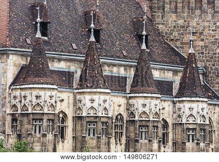 Close up photo of Vajdahunyad castle in Budapest Hungary. Cultural heritage. Travel destination. Architectural scene. Famous place. Tourism theme.