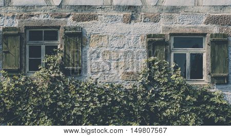 Vintage house facade covered with vines - Traditional german house facade with two wooden windows and shutters a stone wall and covered with grape vines