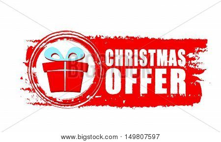 christmas offer - text and gift box sign on red drawn banner, business holiday concept, vector