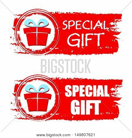special gift - text and present box sign on red christmas drawn banner, business holiday concept, vector