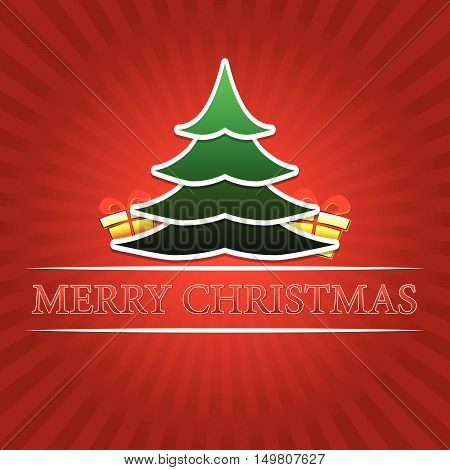 merry christmas - text with green christmas tree and golden gift boxes signs over red rays, vector