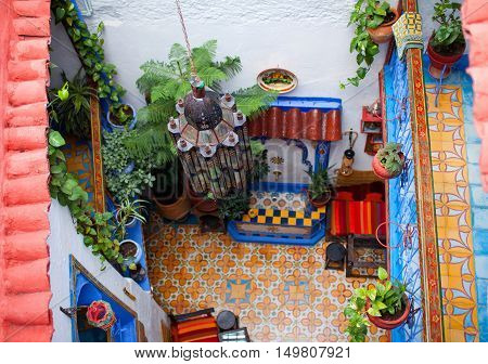 Traditional riad interior in Chefchaouen medina, Morocco, North Africa.