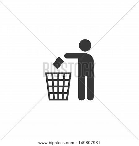 silhouette pictogram vector. Please don't litter sign