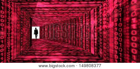 A silhouette of a hacker with a black hat in a suit enters a hallway with walls textured with green digital glowing strains 3D illustration cybersecurity concept