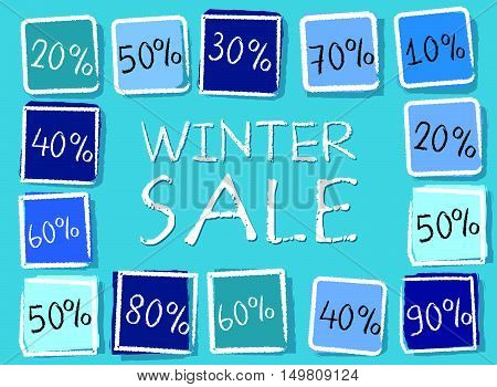 winter sale and different percentages - retro style blue label with text and squares, business seasonal concept, vector