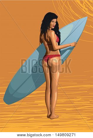 Beautiful girl sexy hot woman surfer surfing with surfboard sexy ass bikini backside swimsuit standing turned back. Vector closeup horizontal side view illustration erotica female orange background