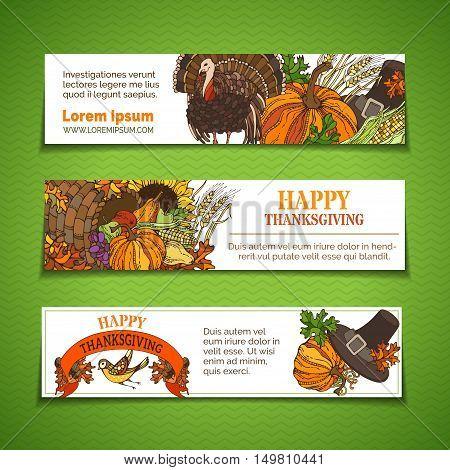 Vector Thanksgiving Horizontal Banners Set.
