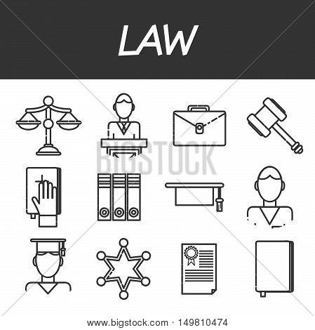 Law icons set with lawyer jail court jury isolated vector illustration