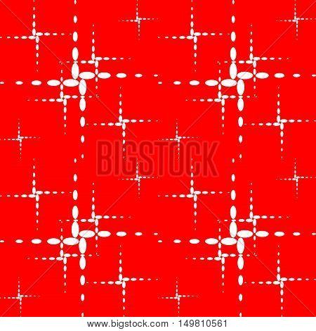The pattern of the crosses. White dotted crosses on a red background.