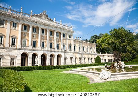 Como Italy - 2016 August 17 : The museum of Villa Olmo and gardens a historic neoclassical villa in the town of Como on the Como lake now owned by the city of Como