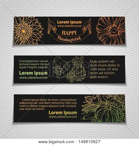 Vector Linear Thanksgiving Horizontal Banners Set.