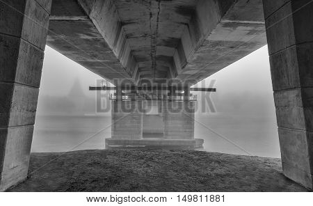 misty morning in Pskov the river and the bridge shrouded in fog