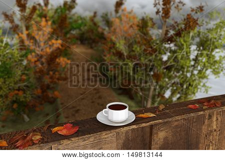 3d rendering of cup of coffee on wooden windowsill with leaves in front of footpath in the autumn season
