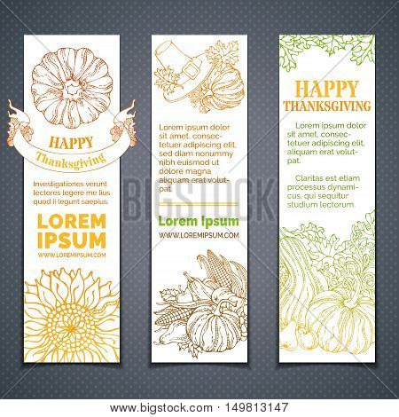 Pilgrim's hat pumpkin corn wheat sunflower apple pear acorn ribbon autumn leaves. Copy space for your text. Hand-drawn outlined elements.