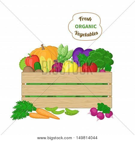 Harvest in a wooden box. Crate with autumn vegetables. Fresh Organic food from the farm. Vector colorful illustration of the autumn harvest isolated on white background.