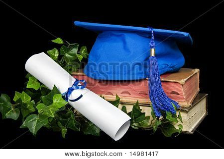 Blue graduation cap