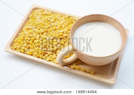 Soy milk and soy in wooden bowl healthy food.