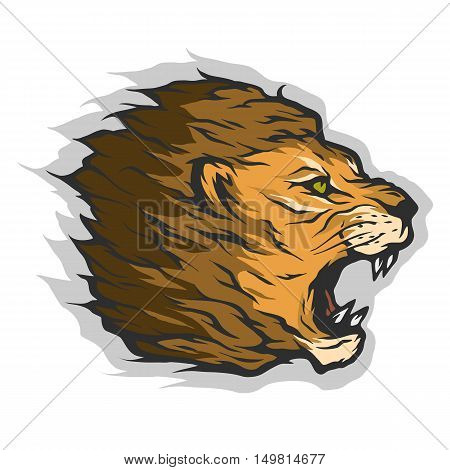 Roaring lion head Color version Vector illustration.