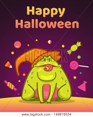 Toad and candy, Halloween character, Vector illustration background