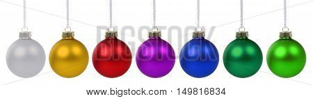 Christmas Balls Baubles Colorful In A Row Advent Isolated On White