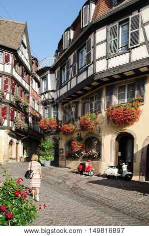 COLMAR, FRANCE - SEPTEMBER 12: View from the street Rue des Marchands in the medieval town of Colmar France on September 12, 2016.