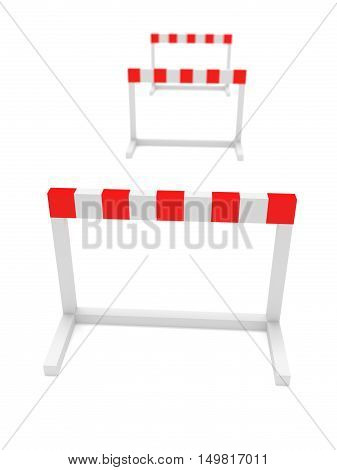 Three Hurdles 3d illustration on a white background