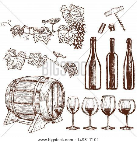 Set of sketch wine icons. Vector stock illustration.