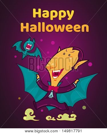 Vampire Dracula, Halloween Character, Vector Illustration Background