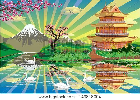 Japanese Palace on a river with swans. Mount Fuji. Sakura. Landscape - swans lake sunrise. Vector illustration