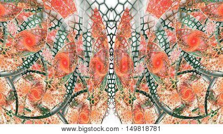 Abstract fantasy mosaic ornament on white background. Symmetrical pattern. Creative fractal design in red pink orange and dark green colors.