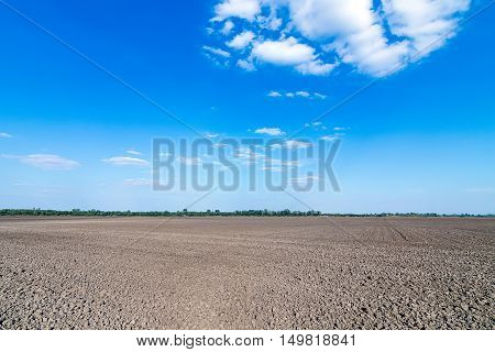 Farmland plowed and prepared for cultivation. Prepared farmland.