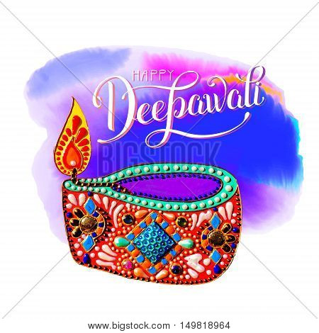 original greeting card to deepavali festival with diya jewels painting and hand lettering inscription happy deepawali, calligraphy vector illustration